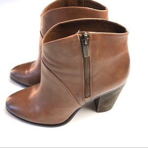 VINCE CAMUTO Brown Distressed Leather Booties